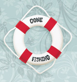 "Decorative Life Ring - Red ""Gone Fishing"""
