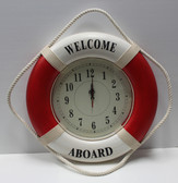 "Life Ring Clock - Red ""Welcome Aboard"""