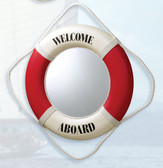 "Life Ring Mirror - Red ""Welcome Aboard"""
