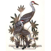 Sand Hill Cranes Momma and Chicks Nautical Wall Sculpture