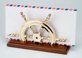 Brass Nautical Wheel Decor - Letter Holder