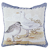 Decorative Nautical Throw Pillow - Shore Birds