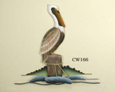 Single Pelican on Piling Coastal Wall Sculpture