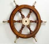 Decorative Wooden Ship Wheel with Brass Spokes 18""