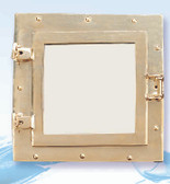 Square Brass Porthole Mirror 11.5""