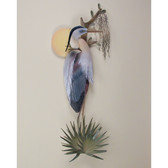 Tropical Sunrise Heron Coastal Wall Sculpture