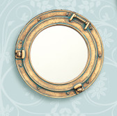 Polystone Porthole Mirror with Verdigris Finish
