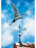 "42"" Verdigris Heron Nautical Weathervane"