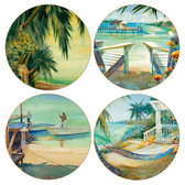Visions of Paradise Round Sandstone Coasters