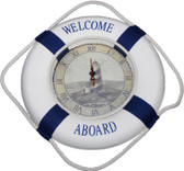 Welcome Aboard Life Ring Clock with Lighthouse Scene
