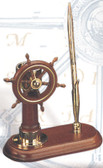 Brass and Wood Ship Wheel with Compass Pen Holder