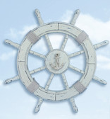 Nautical Wheel Decor - Antique White Washed Finish 24""