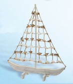 Wooden Sailboat with Shell Design