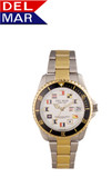 Del Mar Men's 200M Stainless Steel Classic with Nautical Flags - Two Tone