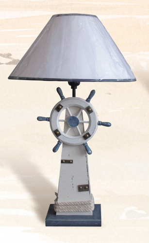 Table Lamp With Lighthouse And Ship Wheel Base 18 5 Quot