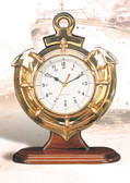 Premium Brass Anchor Clock with Wooden Base