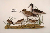 Stilt, Greater Yellow Leg and Sandpipers Wall Sculpture