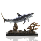 Brass Shark Sculpture - Shark with Prey - 30969