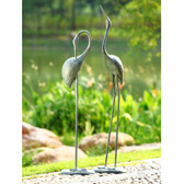 Contemplative Garden Crane Statues (Pair)