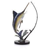 Fighting Marlin with Tackle Sculpture