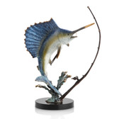 Fighting Sailfish with Tackle Sculpture