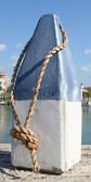 """Nautical Wood Buoy 9""""  Blue/White"""