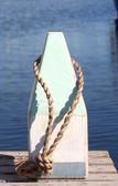 "Nautical Wood Buoy 9""  Aqua/White/Nantucket Blue"