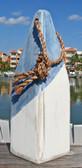 "Nautical Wood Buoy 12""  Blue Diagonal/White"