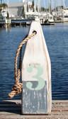 "Nautical Wood Buoy 12""  White/Nantucket Blue/Aqua #3"