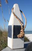 """Nautical Wood Buoy 12""""  White/Navy Blue"""