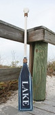 """Hand Painted Wood Paddle With Rope White/Navy """"Lake"""" in White"""