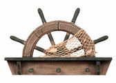 Wooden Wheel Shelf with Hooks