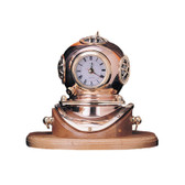 Brass Diving Helmet Clock with Base, Lacquer Coated 7.5""