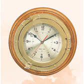 Deluxe Brass Porthole Clock with Wooden Base 13.25""