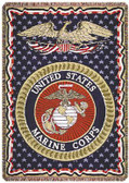 Decorative Nautical Beach Throw Blanket - U.S. Marines (3-Layer)