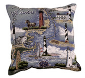 Decorative Nautical Throw Pillow - Lighthouses of North Carolina