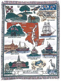 Decorative Nautical Beach Throw Blanket - State of Maryland
