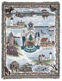Decorative Nautical Beach Throw Blanket - State Of Maine