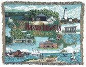 Decorative Nautical Beach Throw Blanket - Massachusetts