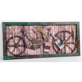 Metal Ship Wheels, Paddle, Anchor and Rope 3D Collage in Wood Frame