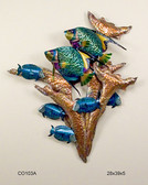 Angelfish in Copper Reef Tropical Wall Sculpture