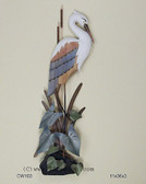 Heron Surrounded by Cattails Coastal Wall Sculpture