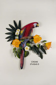 Red Macaw in Hibiscus Tree Wood and Metal Wall Sculpture
