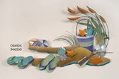 Beach Bucket and Shells Metal Wall Sculpture - 2 colors available