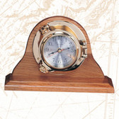 "Deluxe 7.5"" Porthole Clock with Premium Wooden Base"