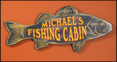 Personalized Fishing Cabin Sign - 24""