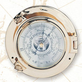 Brass Porthole Weather Barometer 9""