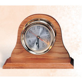 "7.5""  Brass Clock with Oak Base"