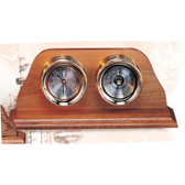 "Premium 4.5"" Clock and Barometer with Wooden Base"