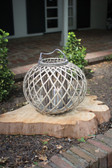 Low Round Grey Willow Lantern with Glass